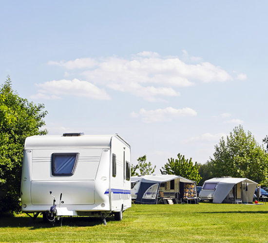 Motor homes parked up in woods to promote Much Ado About Insurance Brokers - Home and Caravan Insurance