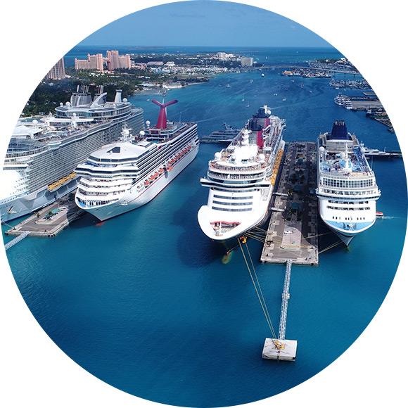 Cruises ships lined up in harbor to promote cruise insurance by Much Ado About Insurance